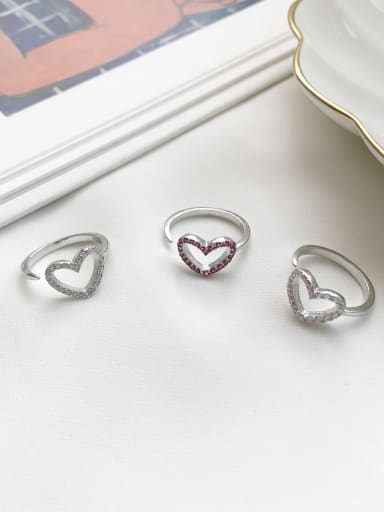 925 Sterling Silver Rhinestone Multi Color Heart Cute Midi Ring