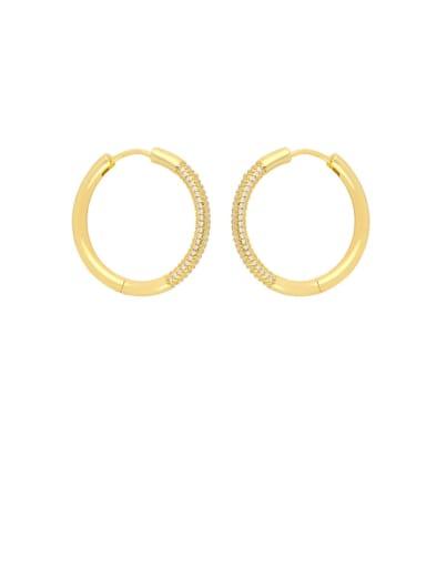 White zirconium Brass Cubic Zirconia Geometric Vintage Hoop Earring