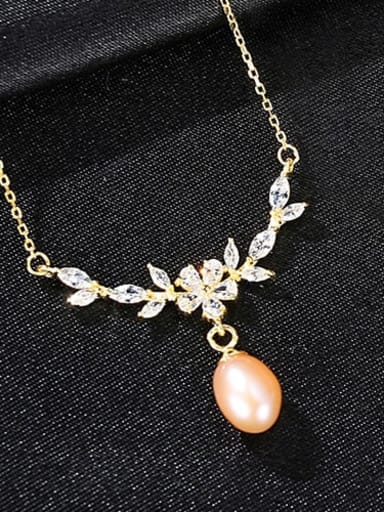 Pink 7b08 925 Sterling Silver  Micro zircon inlaid freshwater pearl necklace
