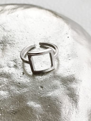 925 Sterling Silver Geometric Trend Blank Ring