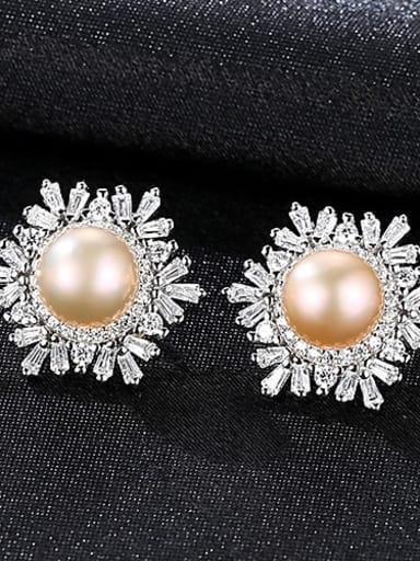 Pink 1k02 925 Sterling Silver Freshwater Pearl White Flower Trend Stud Earring