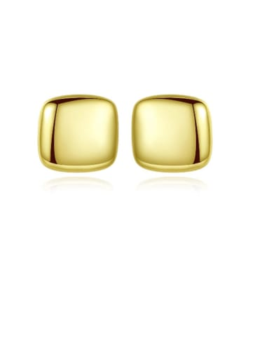 925 Sterling Silver Smooth Square Minimalist Stud Earring