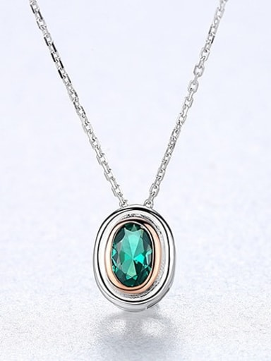 925 Sterling Silver Emerald Green Simple square pendant Necklace