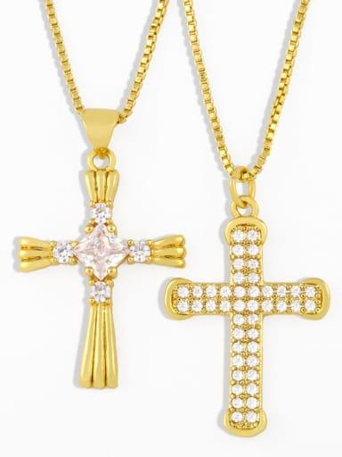 Copper Cubic Zirconia Cross Vintage Pendant Necklace
