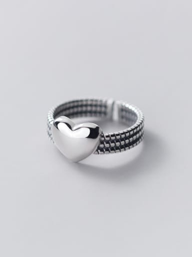 925 Sterling Silver Heart Vintage Stackable Ring