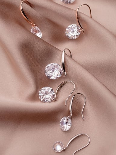 925 Sterling Silver Cubic Zirconia White Round Dainty Hook Earring