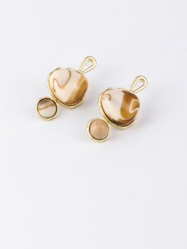 A light brown Zinc Alloy Resin Geometric Minimalist Drop Earrings