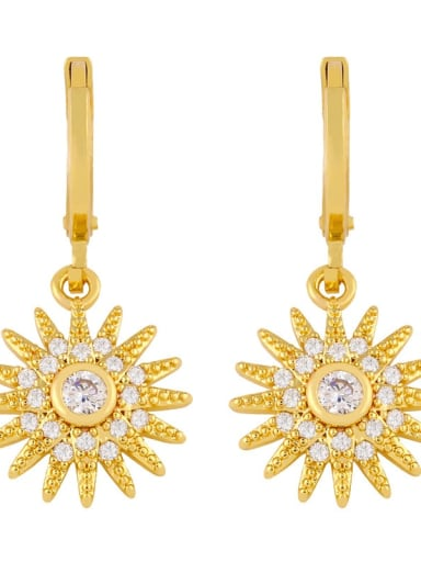 Sun flower Copper Cubic Zirconia Flower Minimalist Drop Earring