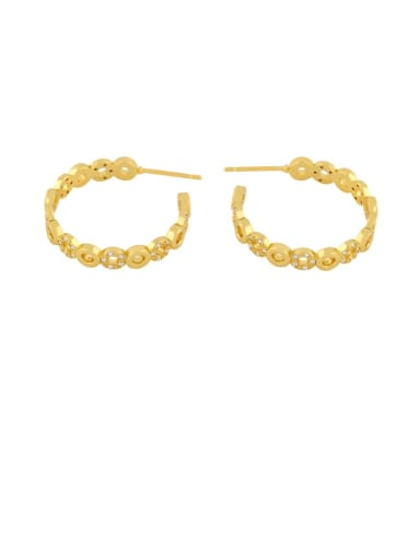 Brass Rhinestone Geometric Minimalist Hoop Earring