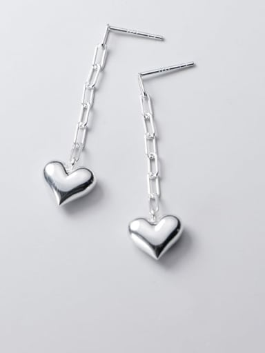 925 Sterling Silver Heart Minimalist Drop Earring