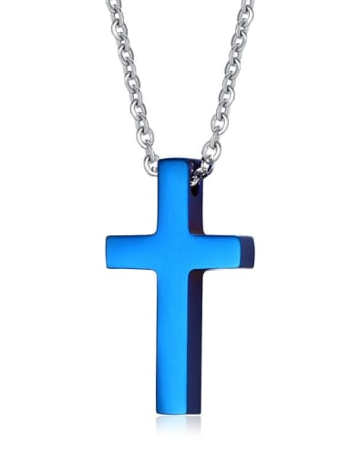 Blue Stainless Steel  Smooth Cross Minimalist Regligious Necklace