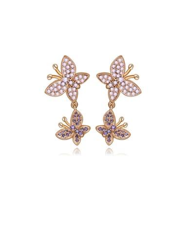 Copper Cubic Zirconia  Butterfly  Drop Earring