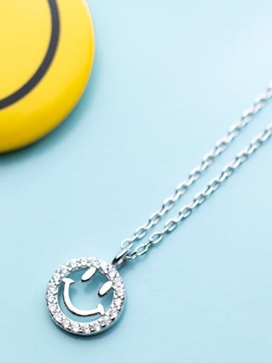 925 Sterling Silver Rhinestone simple fashion Smiley Face Pendant Necklace
