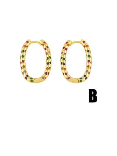 B Brass Cubic Zirconia Geometric Vintage Hoop Earring