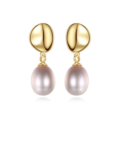 925 Sterling Silver Freshwater Pearl  Smooth Round Dainty Drop Earring