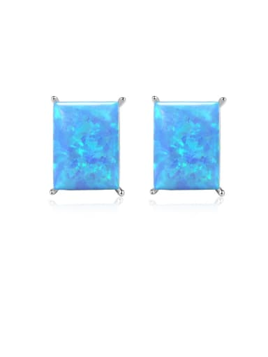 925 Sterling Silver Opal Blue Square Minimalist Stud Earring