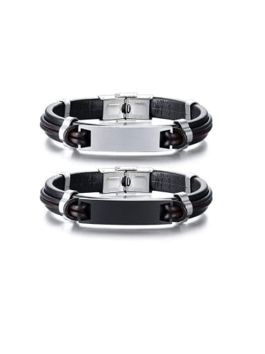 Stainless Steel With Simple Square Men's Leather Bracelet