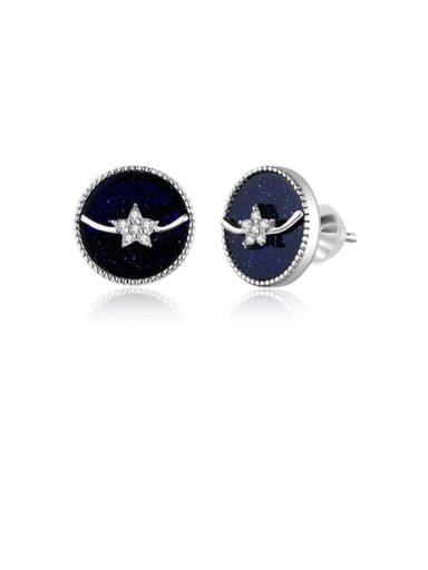 925 Sterling Silver With  White Gold Plated Minimalist Round Stud Earrings