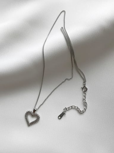 925 Sterling Silver Vintage openwork heart shaped Necklace