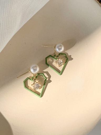 C green Alloy With Imitation Gold Plated Simplistic Drop Earrings