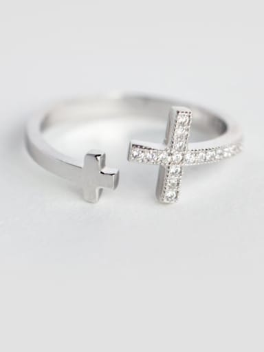925 Sterling Silver Rhinestone  Cross Minimalist  Free Size Band Ring