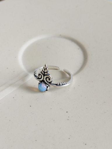 J 841 rings 925 Sterling Silver Glass Bead Blue Heart Vintage Midi Ring