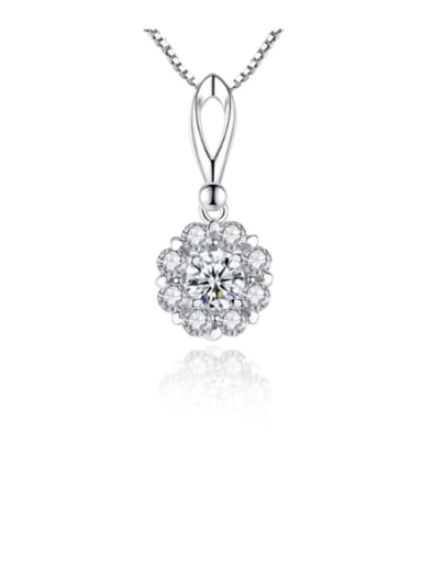925 sterling silver simple flower Cubic Zirconia Pendant Necklace
