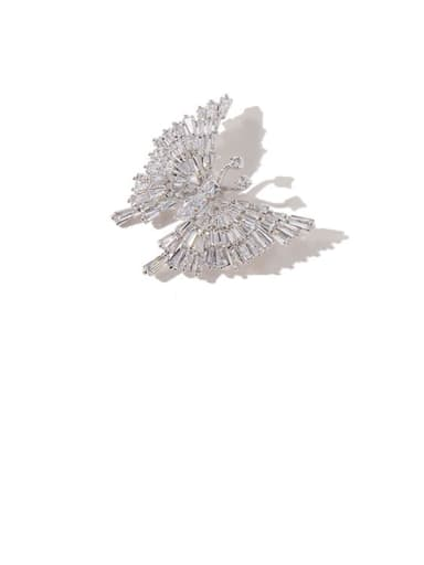 sliver white Copper Cubic Zirconia White Butterfly Cute Brooches