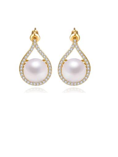 Copper Imitation Pearl Geometric Statement Drop Earring