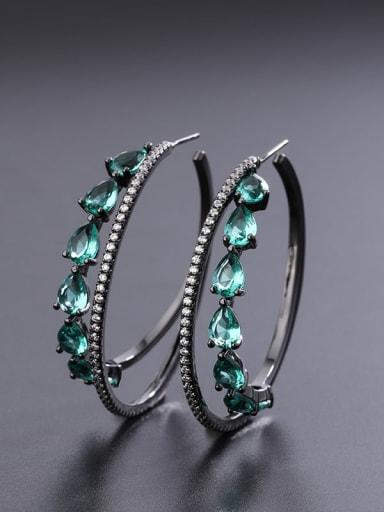 Green wave Earrings Brass Cubic Zirconia Round Luxury Hoop Earring