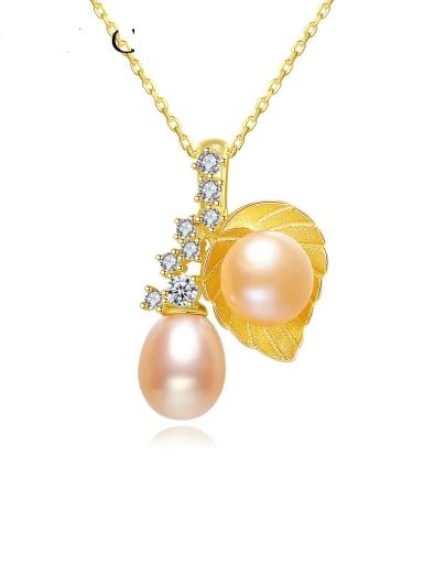 925 Sterling Silver Imitation Pearl Leaf Vintage Necklace