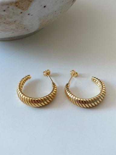 925 Sterling Silver Geometric Vintage Hoop Earring (Single)