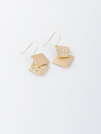 A square section Brass Enamel Geometric Minimalist Hook Earring