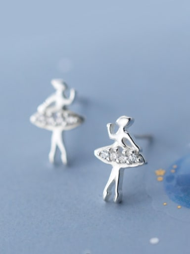 925 Sterling Silver Rhinestone  Angel Cute Stud Earring