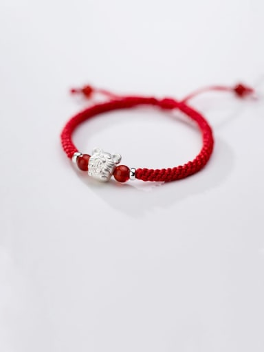 999 Sterling Silver With  White Gold Plated Cute Mouse Red Rope Hand Woven Bracelets
