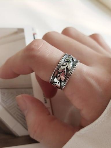 925 Sterling Silver Vintage Olive Leaf Free Size Band Ring