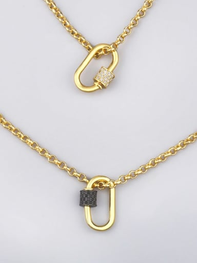 Brass Cubic Zirconia Geometric Minimalist Necklace