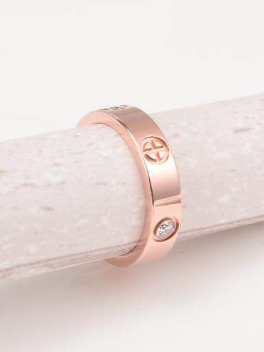 Titanium Rhinestone Round Minimalist Band Ring