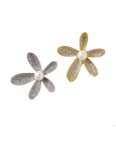 Copper Cubic Zirconia White Flower Dainty Brooches