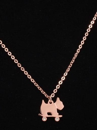 Titanium Rhinestone Cute dog   Necklace