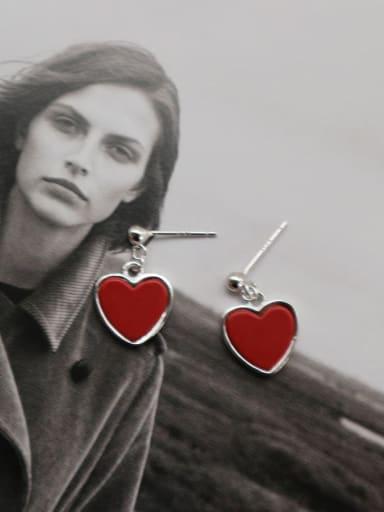 925 Sterling Silver Red Enamel Heart Minimalist Stud Earring