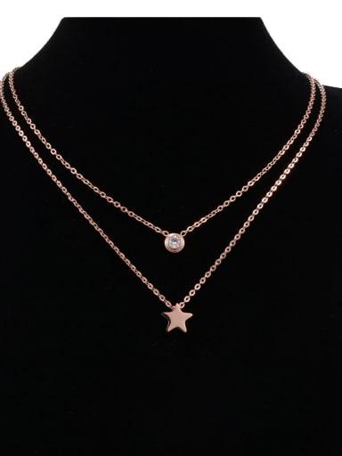 Titanium Star Minimalist Multi Strand Necklace