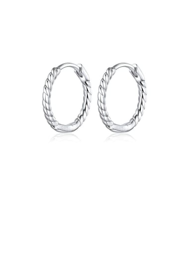 925 Sterling Silver With  White Gold Plated Minimalist Round Hoop Earrings