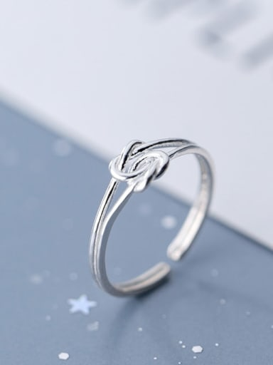 925 Sterling Silver  Minimalist  Rope Knot Free Size Ring