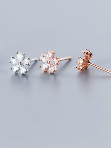 925 Sterling Silver Cubic Zirconia Flower Cute Stud Earring
