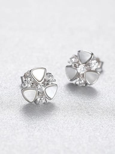 platinum 23A07 925 Sterling Silver Shell Flower Dainty Stud Earring