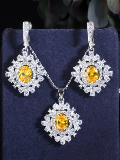 Copper Cubic Zirconia Luxury Geometric Earring Ring and Necklace Set