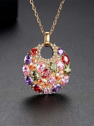 Champagne gold t11d20 Copper Cubic Zirconia Luxury Multi Color Round Pendant  Necklace