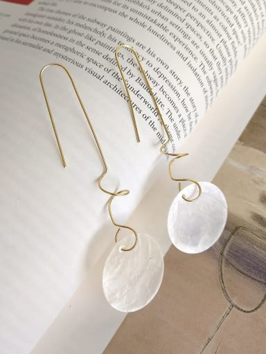 925 Sterling Silver White Acrylic Round Minimalist Hook Earring