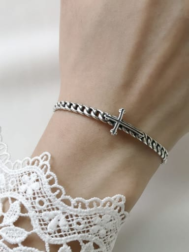 925 Sterling Silver Cross Vintage Cuff Bangle